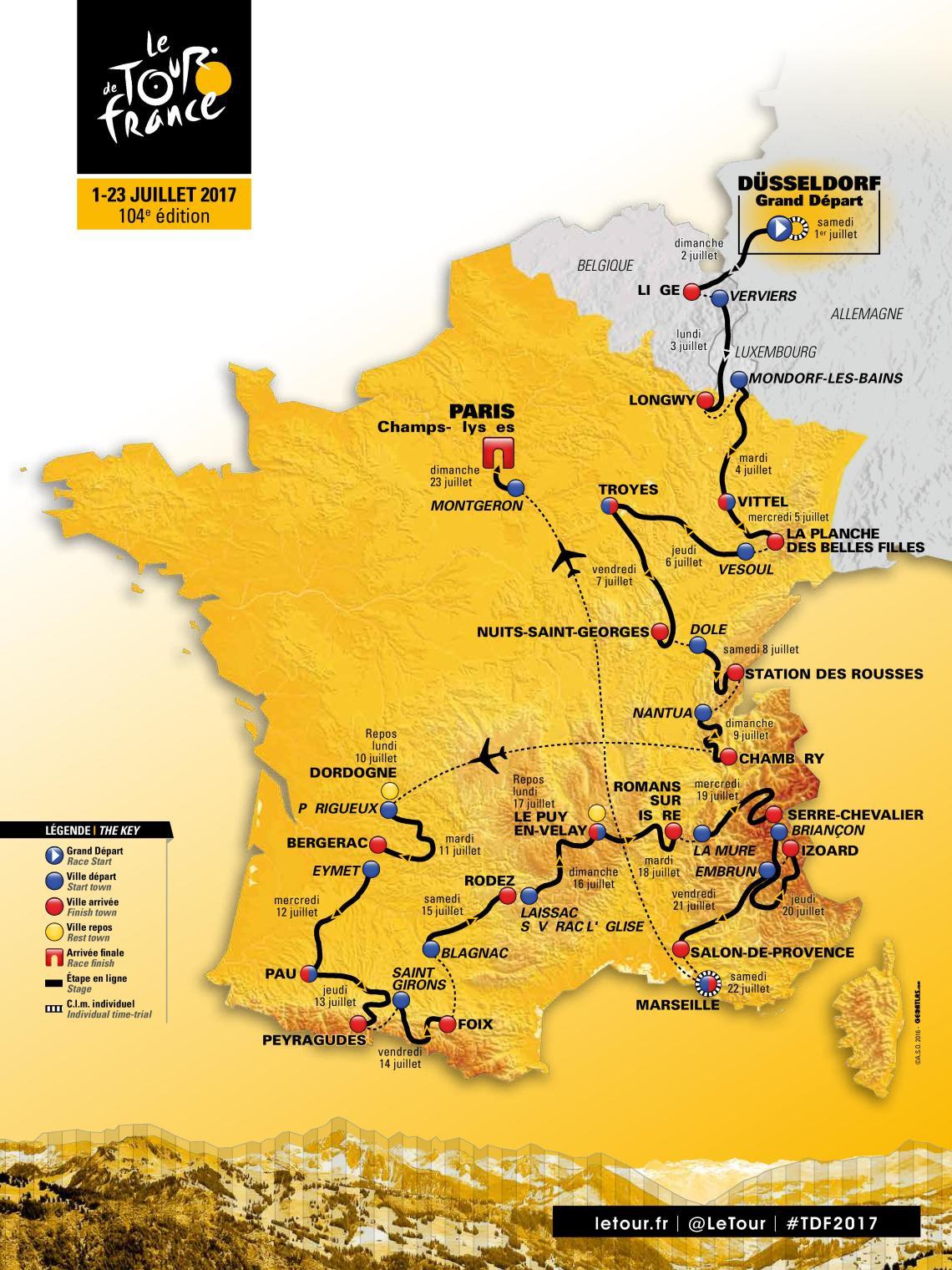 la mappa del tour de france 2017