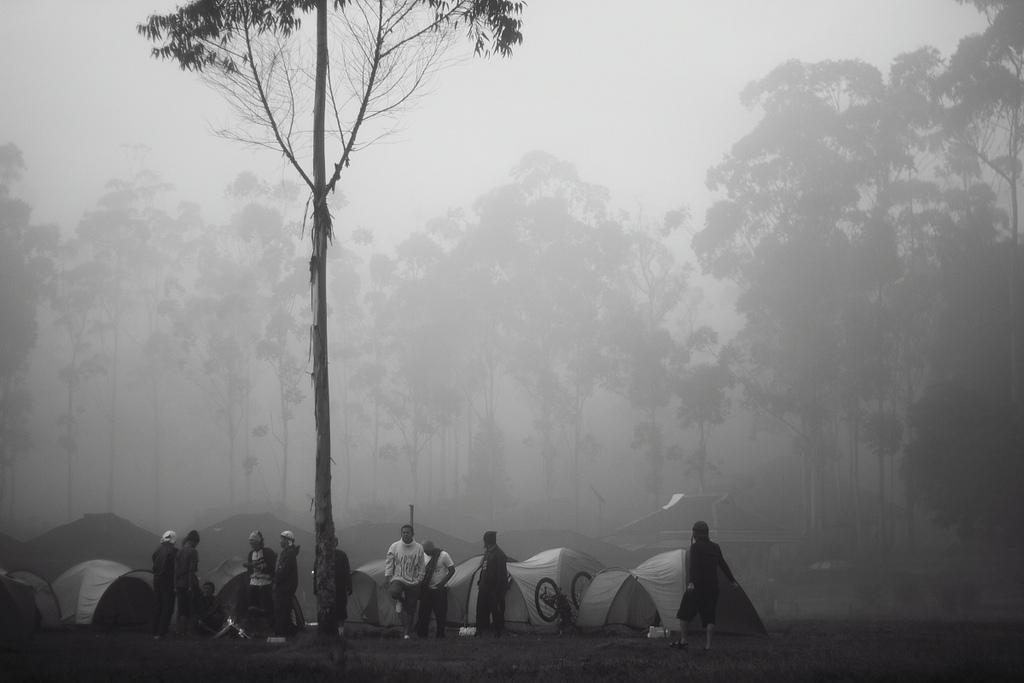 un campeggio durante i viaggi in bicicletta
